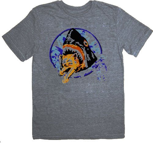 Pineapple Express Saul Silver Shark Eating Kitten Gray Adult T-shirt Tee (X-Large)
