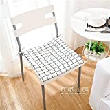 HOMEE the Office Student Automotive Arts Cotton, Linen/Cotton Cushions Dining Chairs with Thin Cushions Anti-Slip Tether Portable ,45X45Cm (Not Tether), 2,005 Small Squares Thin),White,45x45cm