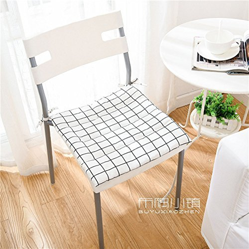 HOMEE the Office Student Automotive Arts Cotton, Linen/Cotton Cushions Dining Chairs with Thin Cushions Anti-Slip Tether Portable ,45X45Cm (Not Tether), 2,005 Small Squares Thin),White,45x45cm by HOMEE