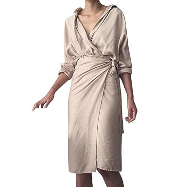 Amazon.com: RTYou Vestido elegante para mujer, casual sólido ...