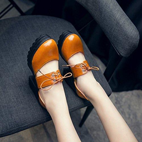 Mee Shoes Damen chunky heels runde Knöchelriemchen Pumps Gelbbraun