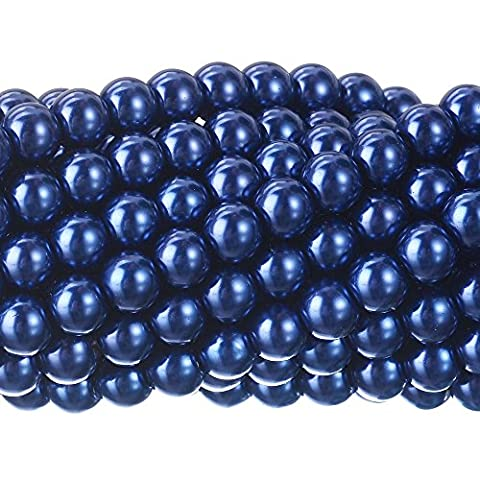 RUBYCA 200Pcs Czech Tiny Satin Luster Glass Pearl Round Beads Beading Jewelry Making 6mm Dark Blue - Baby Blue Beads