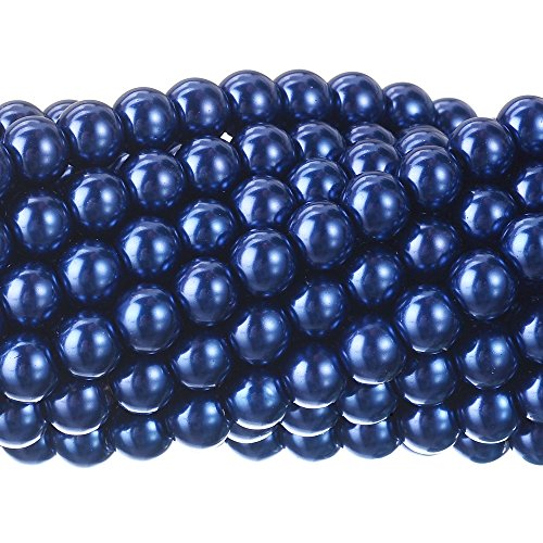 (RUBYCA 200Pcs Czech Tiny Satin Luster Glass Pearl Round Beads Beading Jewelry Making 6mm Dark Blue)