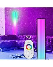 VISDANFO Czarna lampa stojąca i Downlight Eck lampa stojąca RGB zmiana koloru nowoczesna lampa stojąca z pilotem zdalnego sterowania Metal Floor Lamps for Living Room, Bed Room 20 W