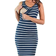 MAXIMGR Women's Summer Striped Print Sleeveless Nursingwear Nursing Tank Dress Size S (Blue)