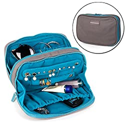 Travel Jewelry Organizer Bag Case Waterproof Canvas Velvet Fabric With Zipper for Necklace Bracelet Earrings Ring (Cocoa)