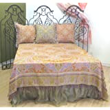 """Luxurious Merino Wool """"Kalam"""" Paisley Bedspread Bedcover Coverlet 98"""" Square Gold Red King Reversible"""