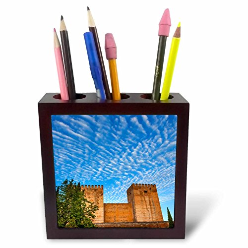 3dRose Danita Delimont - Castles - Morning sky over Alhambra Castle, Granada, Andalusia, Spain - 5 inch tile pen holder (ph_257895_1) by 3dRose