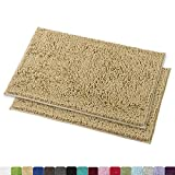 MAYSHINE Bath mats for Bathroom Rugs Non Slip Machine Washable Soft Microfiber 2 Pack (20×32 inches, Beige)