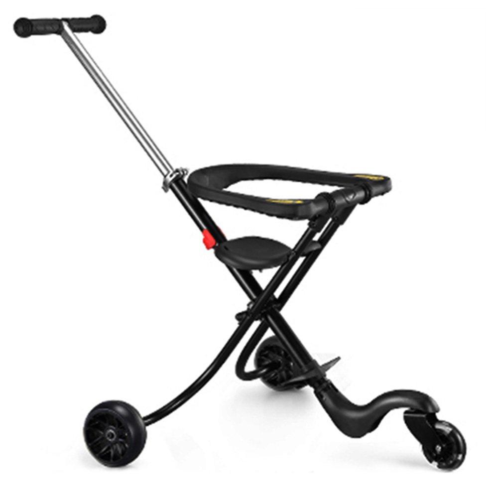 LVZAIXI ベビーベビーカー5ラウンドシンプルな便利な折りたたみ2-5歳の子供のトロリー ( 色 : ブラック ) B07C743DXB ブラック ブラック