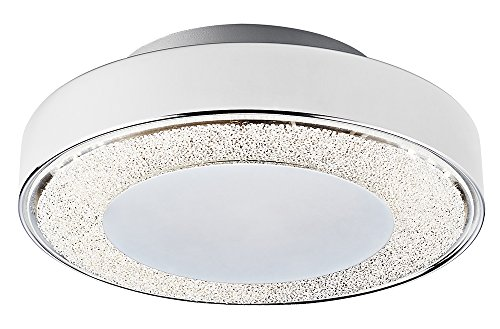 Textured Metal Frame (Modern LED Flush Mount Ceiling Light with Chrome Metal Frame and Textured Crystal Effect Decor by Haysoms)