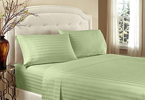 Home Design 1800 Series Luxurious Hotel Stripe Sheet Sets (Queen, Sage)