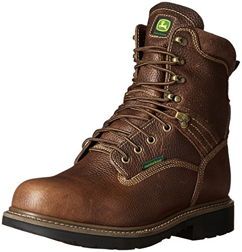 John Deere Mens 8 Brn Impermeabile In Acciaio Punta Eh Farm / Wrk Lu Work Boot Brown