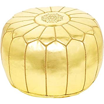Amazing 22 Moroccan Gold Pouf Leather Ottoman Footstool Pouffe Hassock New Pouff Poof Alphanode Cool Chair Designs And Ideas Alphanodeonline
