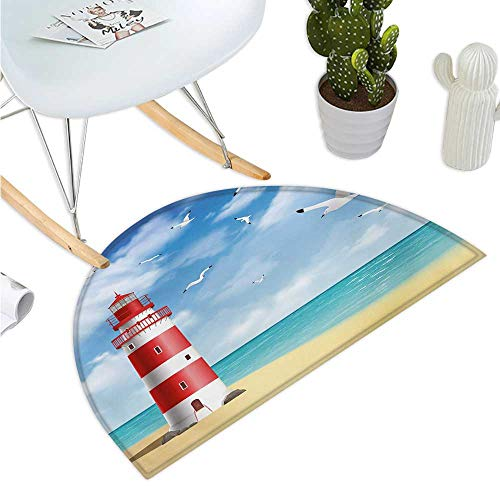 (Beach Semicircular Cushion Realistic Illustration Lighthouse on Calm Seashore Flying Seagulls Ocean Scenery Halfmoon doormats H 47.2