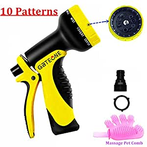 GOTOONE Garden Hose Nozzle Water Sprayer with Locking Rear Trigger Heavy Duty 10 Patterns High Pressure Flow Control Setting Hand Knob For Watering Plants Cleaning Car Wash and Showering Dog & Pets