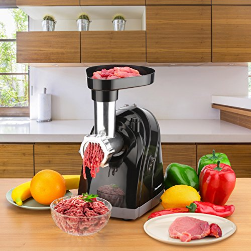 Meat Grinder Electric Stainless Steel Sausage Maker, Meat Mincer Sausage Stuffer with Grinding Plates for Home Use(Black) by Excelvan (Image #6)