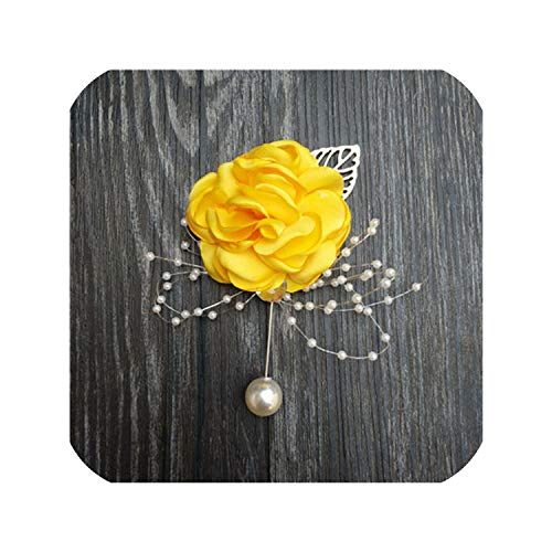 Silk Rose Flower Groom Boutonniere Bride Wrist Corsage Man Suit Brooch Women Hand Wedding Flowers Party Decoration,Yellow Boutonniere ()