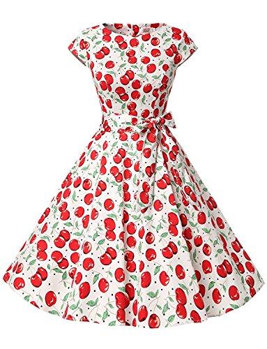 Lucao Women's Round Neck Sleeveless Printed Retro Skirt Dress L31-L