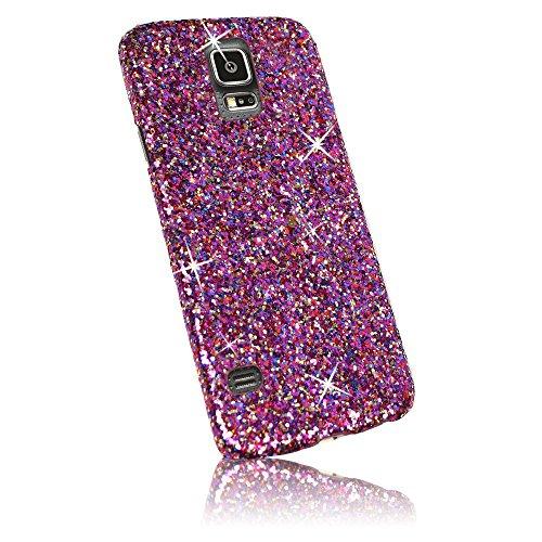 Xtra-Funky Exclusivo brillantes caso del brillo chispeante de lentejuelas del brillo para Samsung Galaxy S5 (i9600) - Rosa Arco Iris Rosa