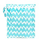 Bumkins Zippered Wet Bag, Blue Chevron