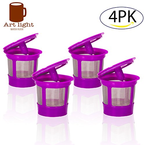4 Pack Keurig Coffee Filter Reusable K Cups, Replacement for Keurig 2.0 and Classic 1.0 & Works with Keurig Machines and Other Single Cup BrewersFits Keurig K55 K200 K250 K300 K350 K400 K450 K460 K
