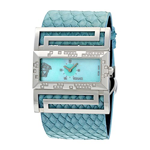 Versace Deauville Blue Mother of Pearl Dial Python Leather Diamond Ladies Watch VSQ91ND115-S115P