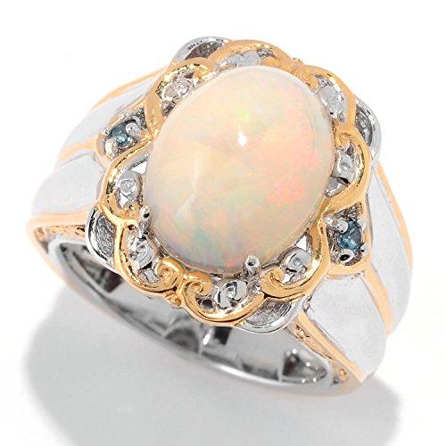 Michael Valitutti Palladium Silver Ethiopian Opal & London Blue Topaz Ring