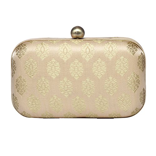 Brocade Evening Bag - Cluthes Purse/Handbag For Women Party Hemlock Stylish Evening Hard Case Silk Jacquard Ethnic Party off White & Gold Clutch