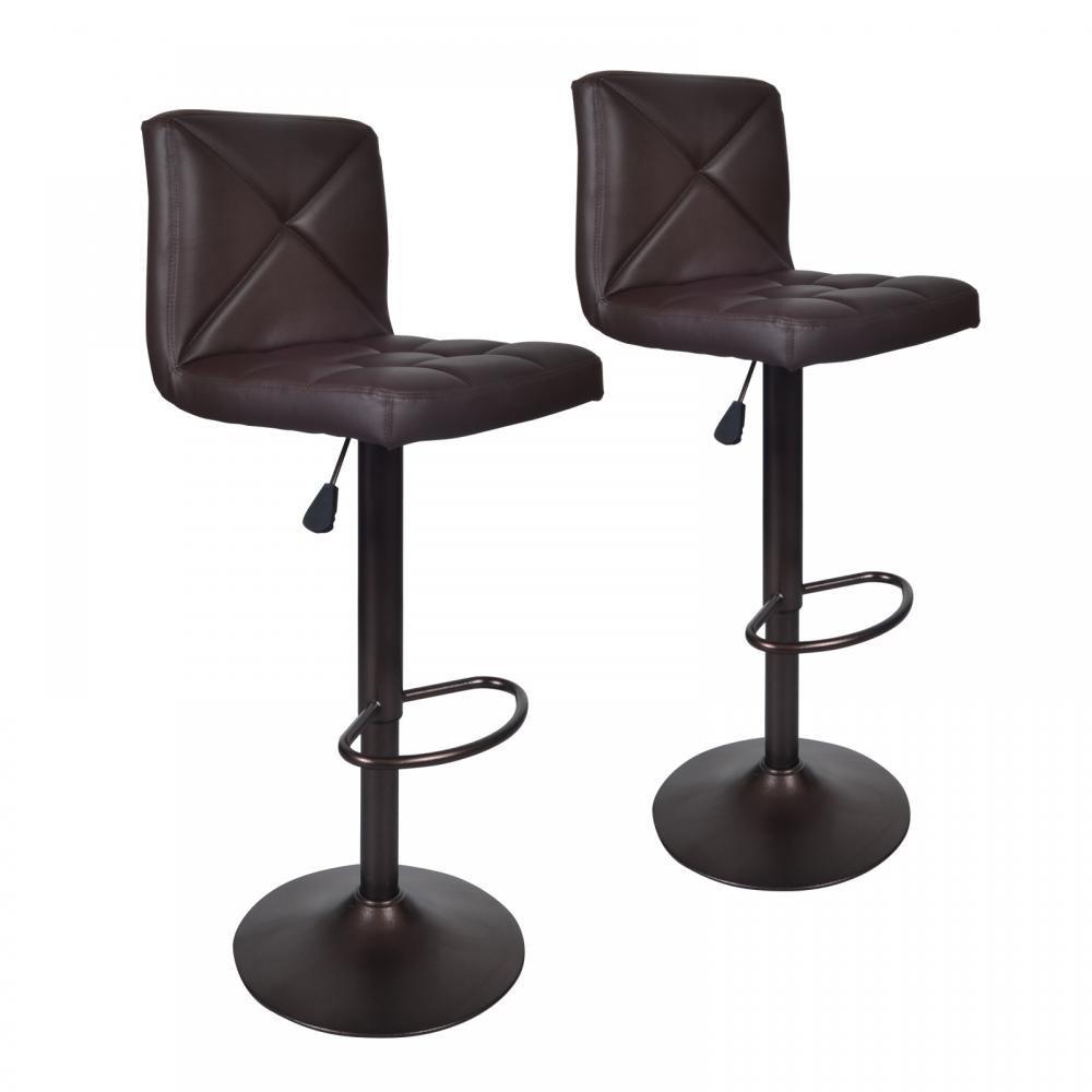 BestOffice Brown 2 PU Leather Modern Adjustable Swivel Barstools Hydraulic Chair Bar Stools