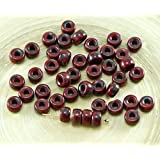 60pcs Picasso Opaque Red Coral Czech Glass Large Hole Pony Ring Roller Crow Beads 6mm