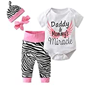 Derouetkia 4Pcs Baby Girls Clothes White Letters Short Sleeve Bodysuit Tops+Zebra Pants+Hat+Headband Outfit Set (60(0-6 Months))