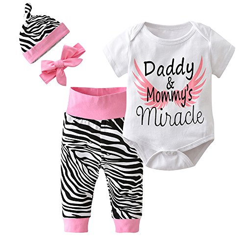 New Girls Summer Clothes - Derouetkia 4Pcs Baby Girls Clothes White Letters Short Sleeve Bodysuit Tops+Zebra Pants+Hat+Headband Outfit Set (60(0-6 Months))