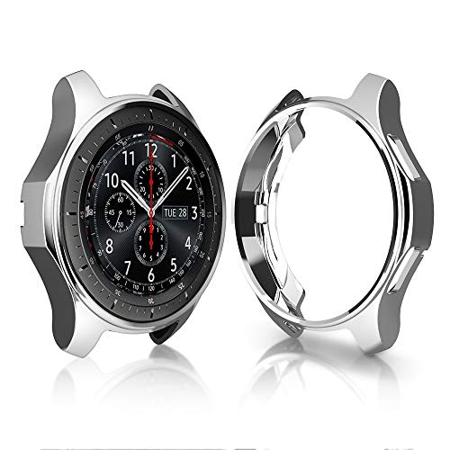 Case for Samsung Gear S3 Frontier SM-R760, Haojavo Soft TPU Plated Protective Bumper Shell for Samsung Gear S3 Frontier SM-R760 & Galaxy Watch 46mm SM-R800 Smartwatch - Frontier Watch Chrome