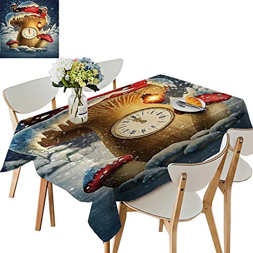 UHOO2018 Square/Rectangle Tablecloth Waterproof Polyester House Clock and a Lamp Snow Covered Fairytale Landscape Magical White Red Light Wedding Birthday Party,54 x102inch