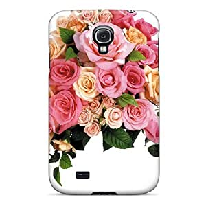Galaxy S4 Case Cover - Slim Fit Tpu Protector Shock Absorbent Case (huge Flower Arrangement)
