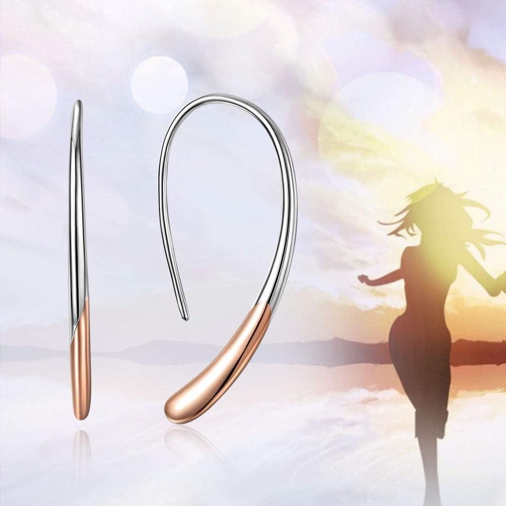S925 Sterling Silver Girls Elegant Earrings Women Drop//Dangle Earrings Simple Style Gold Plated
