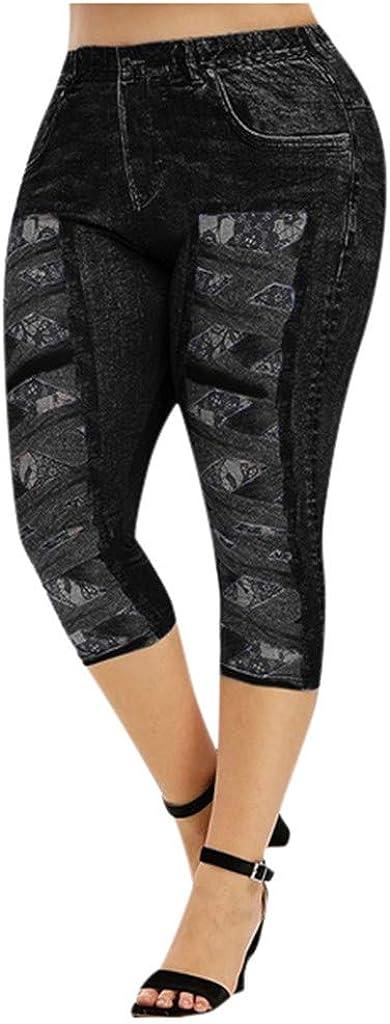 Fineday Women Fashion Plus Size 3D Crisscross Lace Print Jeggings Casual Skinny