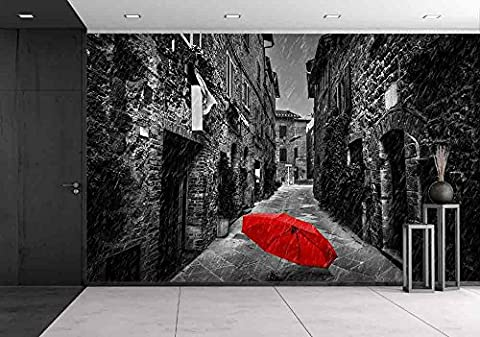 wall26 - Umbrella on Dark Narrow Street in an Old Italian Town in Tuscany, Italy. Raining. Black and White with Red - Removable Wall Mural | Self-adhesive Large Wallpaper - 66x96 (Tuscany Mural)