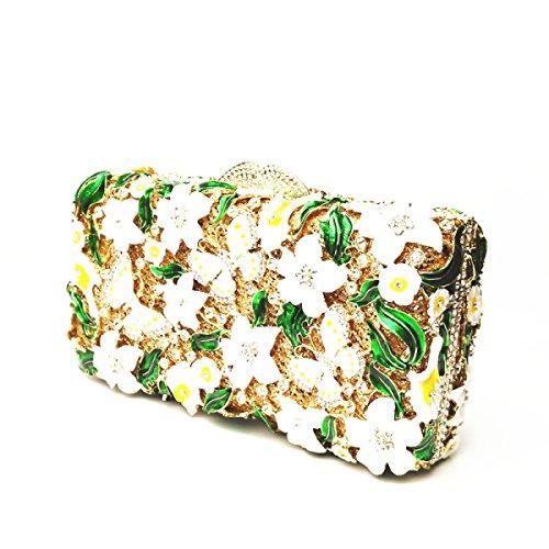 Cena Diamanti A Smalto Mano Banchetto Del Diamanti Sacchetto Vestito Fiori Green Borsa Borsa IvEffFq