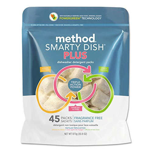 Method Smarty Dish Plus Detergent Tabs, Fragrance Free, 45 Tabs/Pack, 6 Pk/Carton by Method