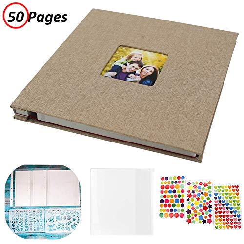 Photo Album Self Adhesive, Linen Hardcover 50 Sticky Pages Scrapbook Album, Memory Book for Wedding/Family, Dust-Free/Glue-Free Photo Album Holds and Protect 3X5, 4X6, 5X7, 6X8, 8X10, Photos (Beige)