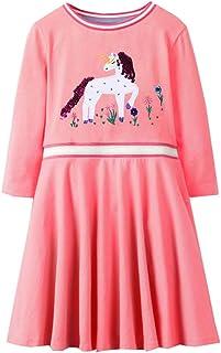 VIKITA Mädchen Bunt Print Stickerei Langarm Baumwolle Freizeit Kleid