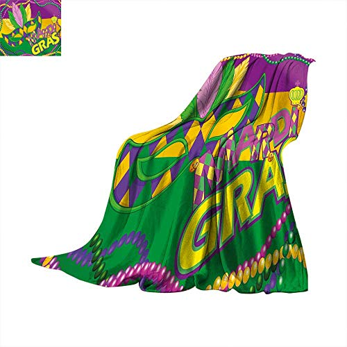 Mardi Gras Faux Fur Blanket Colorful Bands with Vivid Beads Feathers Mask and Crown Symbol Fleece Blanket Magenta Lime Green Yellow. ()
