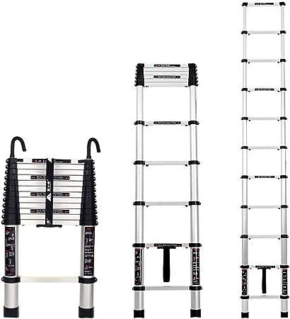 ZR- Escalera Telescópica, Escalera Plegable Aluminio Escaleras Del Pabellón Ingeniería, Escalera Recta Casa Escalera Descenso, Telescópico Con Un Clic, Con Gancho. -Fácil de almacenar y fácil de lleva: Amazon.es: Hogar