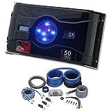 Rockville 0 Gauge 100% Copper Amp Wire Kit+Dual Meter 50 Farad LED Capacitor