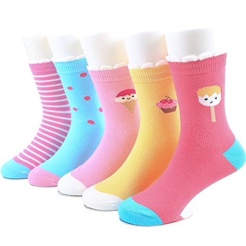 SUNBVE Baby Toddler Grils' Ice Cream Fun Cotton Casual Socks 5 Pack by SUNBVE