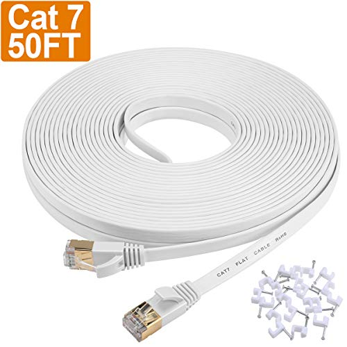 Cat 7 Ethernet Cable 50 ft, Flat Cat7 Shielded Solid Long Internet Network Patch Cord with Clips,High Speed Durable RJ45 Connectors Computer LAN Wire for Gaming, Router, Xbox, PS4 -White 50ft