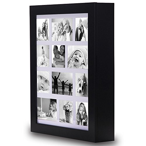 Ikee Design Jewelry Cabinet Photo Frame Wall Mounted Jewelry Storage Chest Armories Organizer Tray, Black