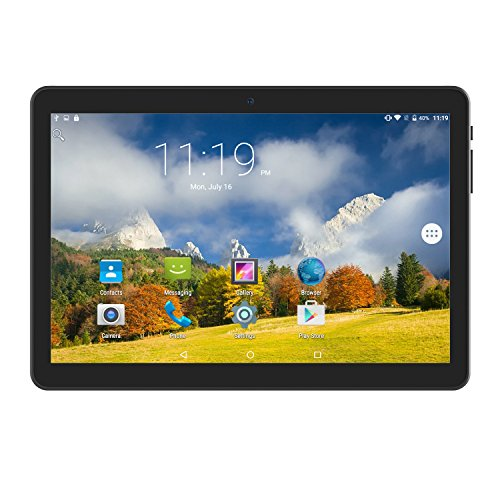 Tablet 10 Inch Android 6.0 Unlocked 3G Phablet Media Pad with Dual Sim Card Slots and 2MP+ 5MP Camera,Wi-Fi,Bluetooth,GPS, Quad Core, HD Touchscreen, Support 3G Phone Call,Black